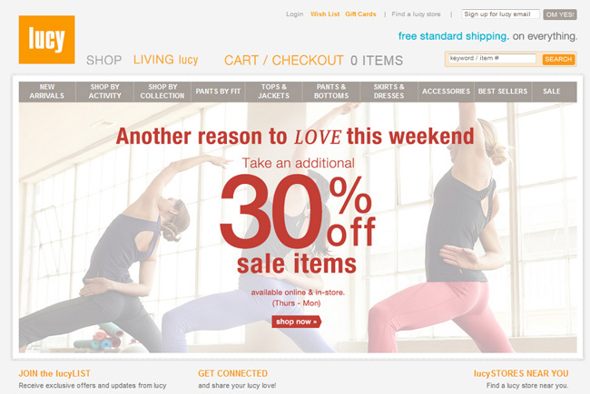 lucy activewear site redesign